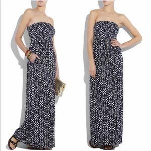 Tory Burch Navy Minta Print Silk Maxi Dress Large